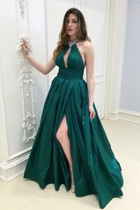 Keyhole A-Line Halter Empire Waist Floor-Length Split Prom Dress With Rhinestones