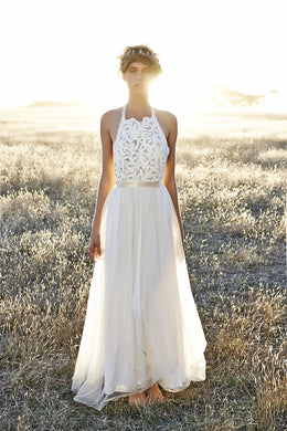 A-Line Halter Floor-Length Chiffon Bridal Dress With Illusion Lace Bodice
