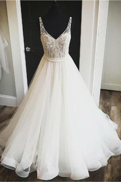 A-Line Ivory Tulle V-Neck Floor-Length Wedding Dress With Beaded Bodice