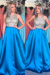 A-Line Jewel Neck Satin Sweep Train Prom Dress With Beaded Bodice