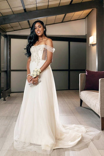 A-Line Off-The-Shoulder Tulle Illusion Wedding Dress With Beads