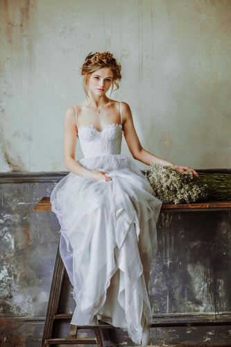 A-Line Spaghetti Strap Tulle Sweep Train Bridal Dress With Lace Bodice