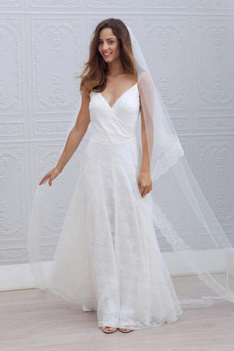 A-Line Spaghetti Strap V-Neck Floor Length Bridal Dress With Lace