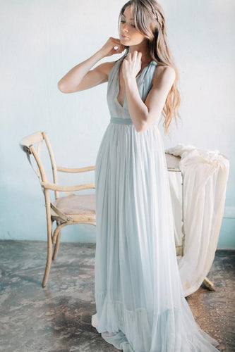 A-Line V-Neck Sweep Train Beach Wedding Dress With Waistband