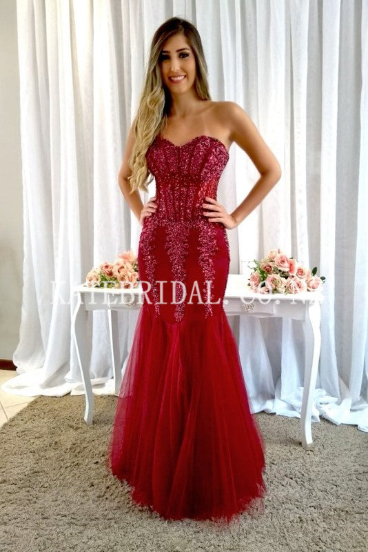 Beading Rhinestone Sweetheart Sleeveless Lace-Up Floor-Length Mermaid Evening Dress