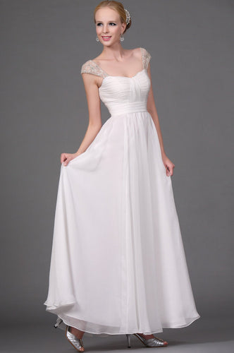 Beading Illusion Straps Cap Sleeves Zipper-Up Ankle-Length Solid Chiffon Evening Dress