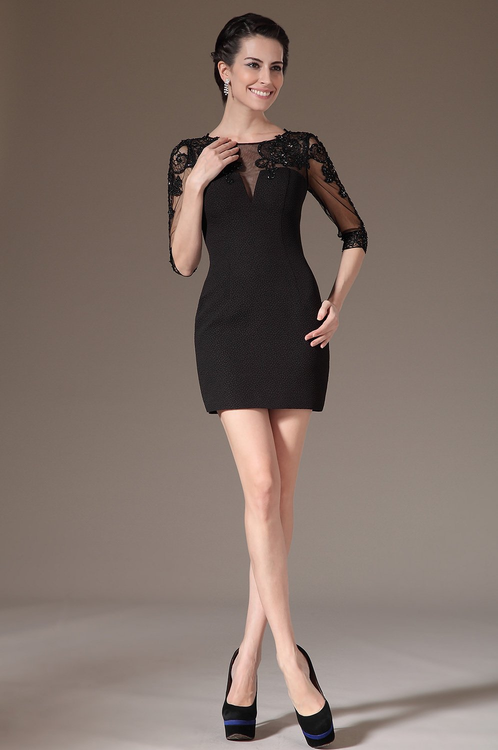 Black Applique Beading Illusion Bateau Half Sleeves Short Sheath Cocktail Dress