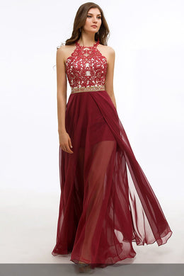 Applique Beading Illusion Jewel Neck Sleeveless Open back Floor-Length Evening Dress