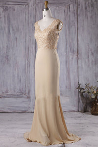 Appliqued V-Neck Brush Train Sheath Mermaid Bridesmaid Dress