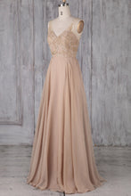 V-Neck Floor-Length Pleated Chiffon Bridesmaid Dress With Applique