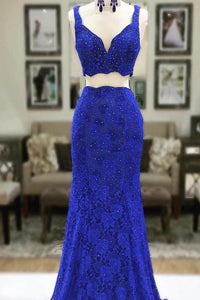 Lace Two-Piece Straps Sweep Train Solid Sheath Evening Dress With Crystals