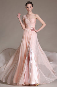 One-Shoulder Floor-Length Solid Slit Chiffon Evening Dress With Applique