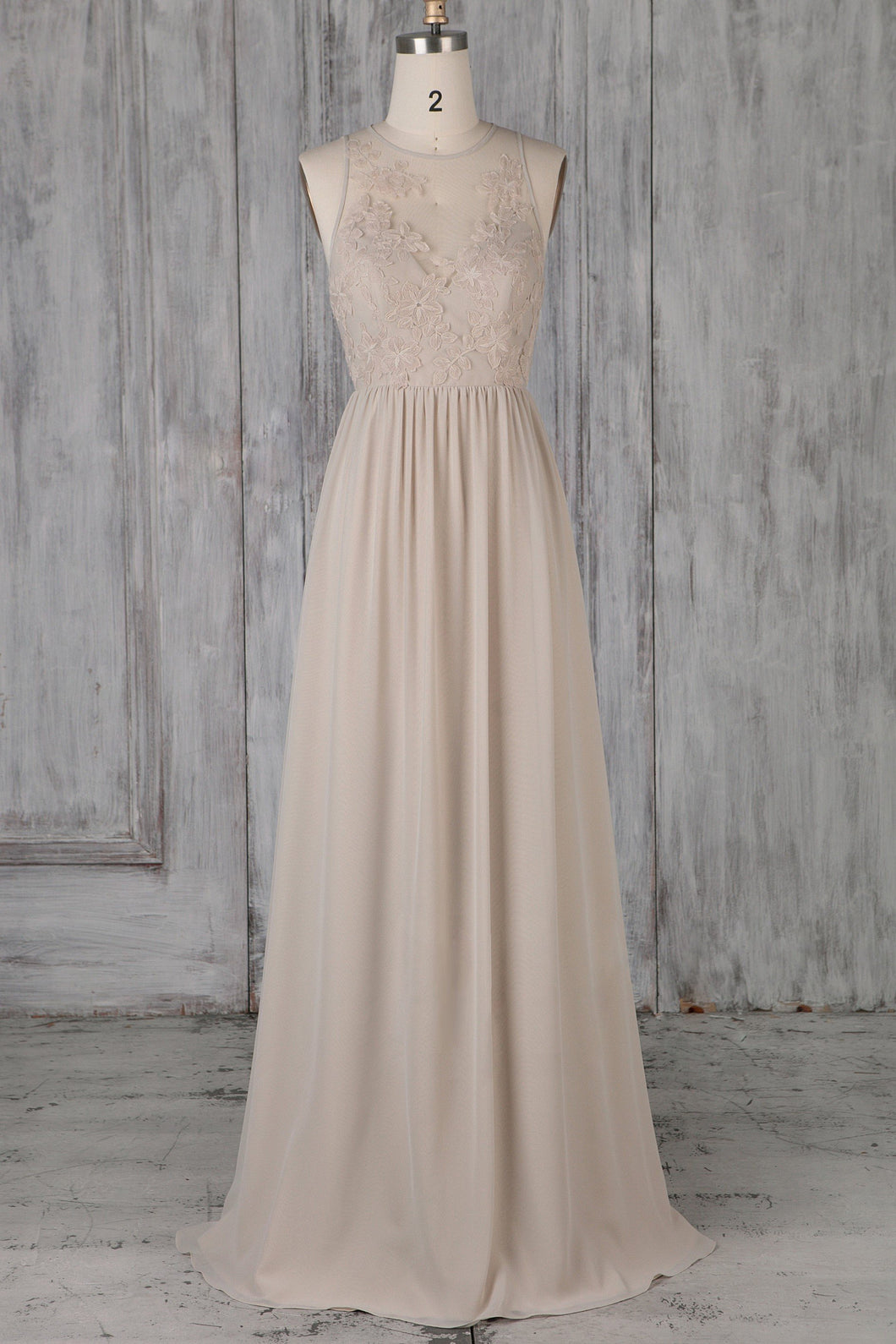 Jewel Neck Full-Length Illusion Chiffon Bridesmaid Dress With Applique