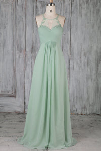 Ruched Chiffon Jewel Neck Sweep Train Bridesmaid Dress With Lace Applique