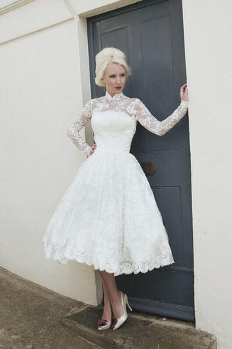 Applique Lace Illusion High Neck Long Sleeves Open Back Tea-Length Wedding Dress