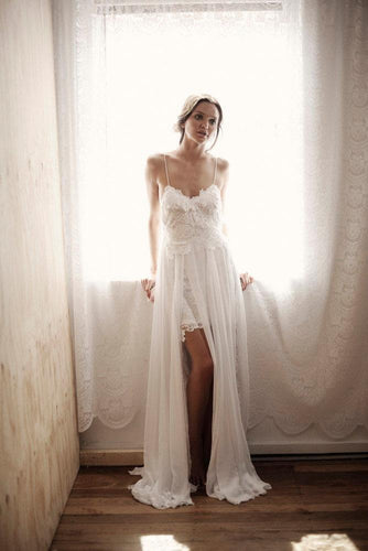 Applique Lace Spaghetti Straps Sleeveless Backless Long Solid Slit Sheath Wedding Dress