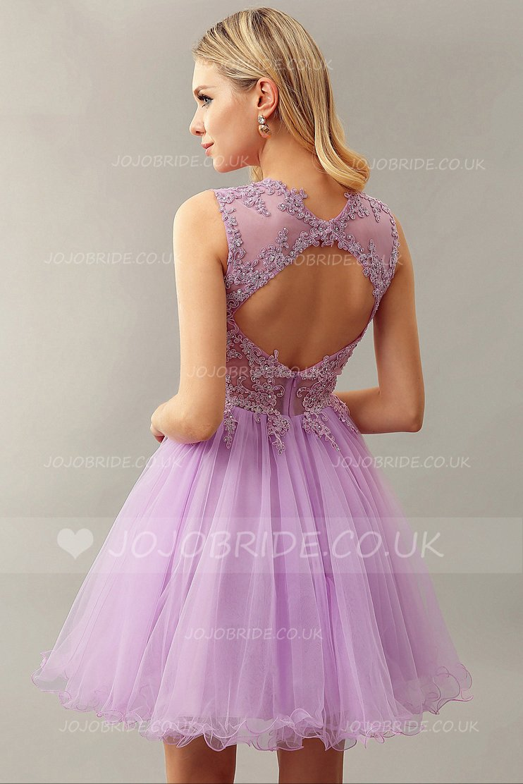 Illusion Jewel Neck Open Back Short Solid Tulle Cocktail Dress With Lace Applique