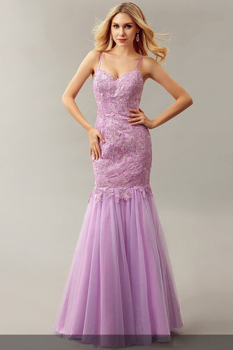 Chic Applique Spaghetti Straps Sleeveless Zipper-Up Floor-Length Mermaid Evening Dress