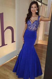 Royal Blue Applique Straps Sleeveless Floor-Length Solid Mermaid Evening Dress