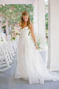 Elegant Applique Straps Sleeveless Long Solid Organza Wedding Dress with Sweep Train