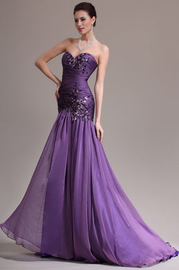 Applique Sweetheart Sleeveless Zipper-Up Long Fit-And-Flare Ruched Chiffon Evening Dress