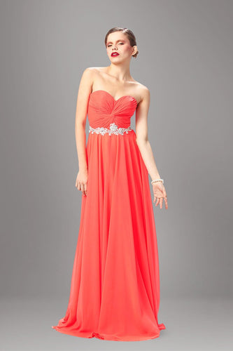Applique Sweetheart Sleeveless Zipper-Up Long Ruched Sheath Chiffon Evening Dress