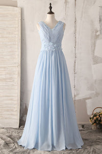 Applique V-Neck Sleeveless V-Back Long Solid Ruched Chiffon Bridesmaid Dress