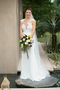 Appliqued Cap Sleeve Open Back Satin Mermaid Wedding Dress With Lace Illusion Bodice