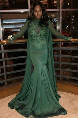 Appliqued Long Sleeve High Neck Illusion Prom Dress With Panel Train