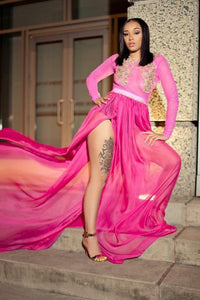 Appliqued Long Sleeve Satin Chiffon Illusion Prom Dress With Thigh Split