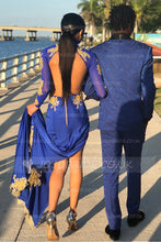 Appliqued Open Back High Neck Long Sleeve Mermaid Prom Dress With Thigh Split