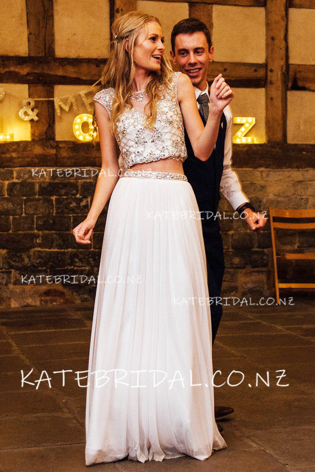 Rhinestone Two-Piece Jewel Neck Cap Sleeve Floor-Length Wedding Dress
