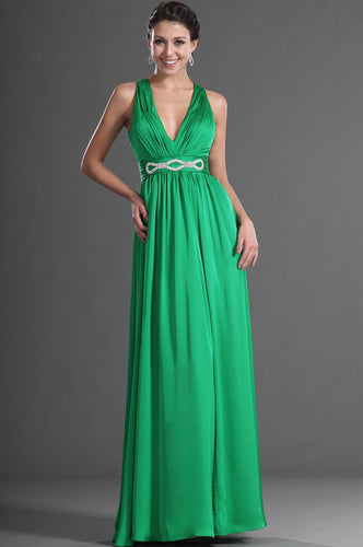 Rhinestone V-Neck Sleeveless Open Back Long Solid Green Sheath Chiffon Evening Dress