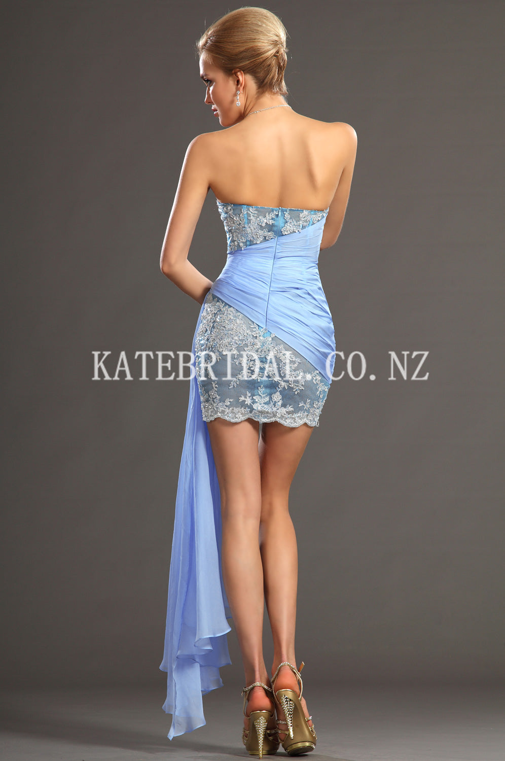 Appliqued Strapless Asymmetrical Short Ruched Chiffon Bodycon Cocktail Dress