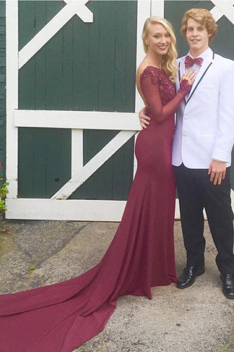 Backless Bateau Long Sleeve Burgundy Jersey Long Prom Dress With Lace & Sequins