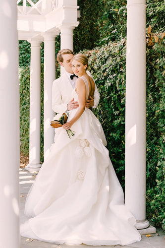 Backless Sheer Neck Ruffled Satin Wedding Dress With Hand-Made Flower