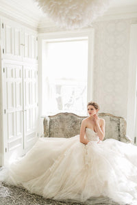 Backless Strapless Sweetheart A-Line Tulle Wedding Dress With Lace Bodice