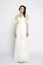 Backless Sweetheart Strapless Floor Length Chiffon Bridal Dress With Detachable Sleeves & 3D Flowers