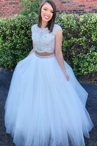 Bateau Cap Sleeve Two-Piece Tulle Ball Gown Prom Dress With Beaded Bodice