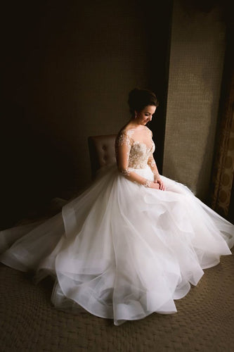 Bateau Long Sleeve Tulle Wedding Dress With Appliqued Sheer Bodice