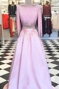 Bateau Long Sleeve Two-Piece Open Back Satin Prom Dress With Beads
