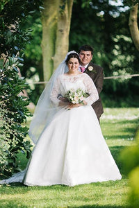 3/4 Sleeve Bateau Neck Plus Size Wedding Dress With Lace Bodice