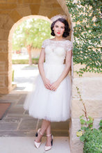Bateau Short Sleeve Tea-Length Wedding Dress With Lace Bodice