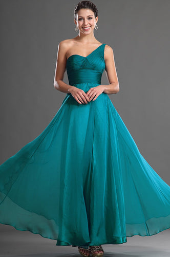 Elegant One Shoulder Sleeveless Backless Ankle-Length Solid Ruched Chiffon Evening Dress
