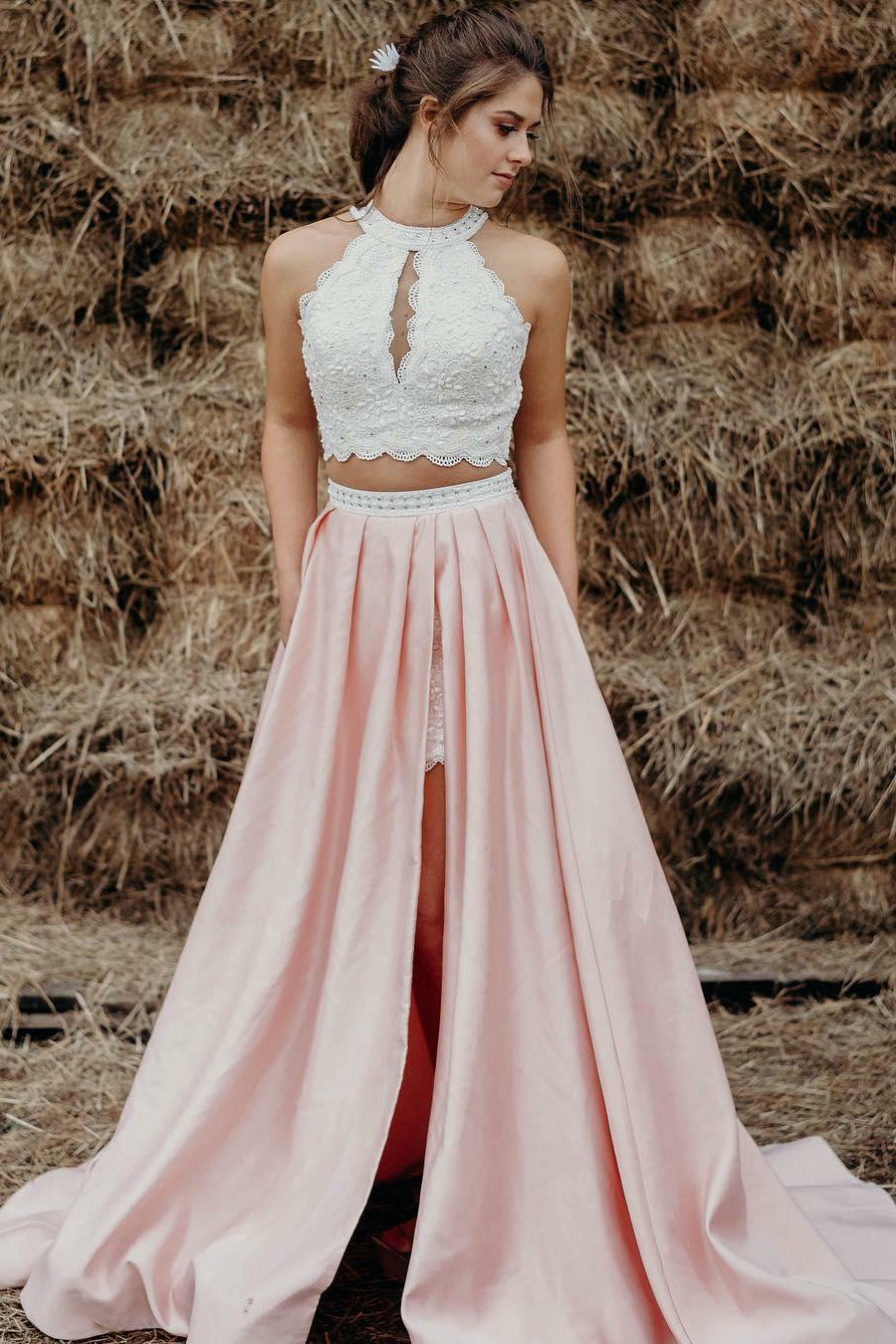 Beaded Halter Two-Piece A-Line Satin Sweep Train Prom Dress With Lace Bodice