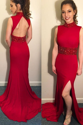 Beading High Neck Sleeveless Open Back Long Solid Mermaid Evening Dress with Sweep Train