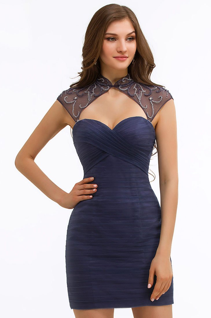 Beading Illusion High Neck Cap Sleeves Open Back Short Solid Bodycon Cocktail Dress