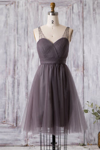 Beaded Illusion Straps Sleeveless Zipper-Up Short Solid Ruched Tulle Bridesmaid Dress