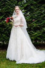 Beaded 1/2 Sleeve Jewel Neck A-Line Court Train Illusion Wedding Dress