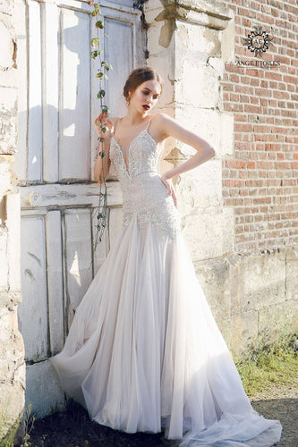 Beaded Low V-Neck Spaghetti Strap Tulle Mermaid Wedding Dress With Criss-Cross Back